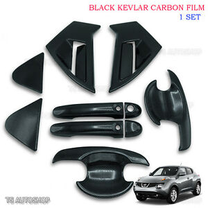 Black Carbon Handle Bowl Insert Cover Trim For Nissan Juke Hatckback 2010 2016