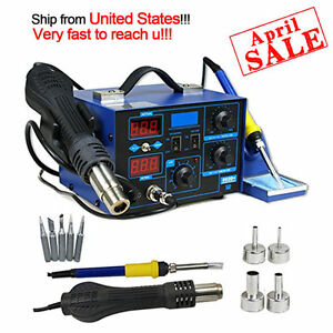 862d 2in1 Smd Soldering Iron Hot Air Rework Station Desoldering Repair 110v Mo