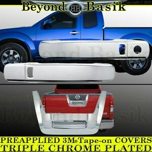 Fits 2005 2012 Nissan Frontier Chrome 2 Door Handle 1kp Tailgate Covers Overlay