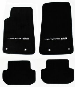 New Black Floor Mats 2010 2015 Camaro Embroidered Logo And Ss In Silver 4 Pc Set