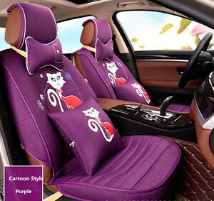 Car Seat Covers 10pcs Cartoon Tailored Linen For Girls 5 Seat Purple Front Rear