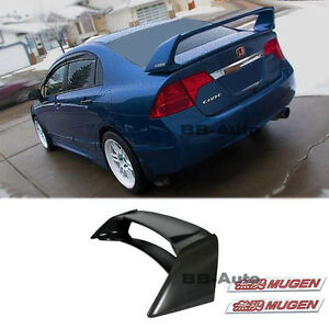 For 06 11 Civic Mugen Rr Style Spoiler 4dr Si Csx Jdm Abs Plastic Red Emblem