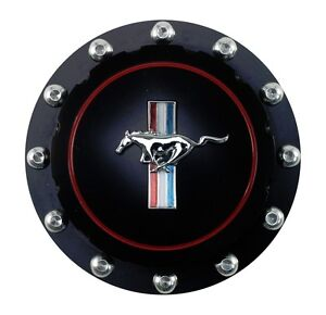 New 1965 1973 Ford Mustang Gas Cap Twist On Style Billet Black Running Horse