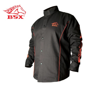 Revco Bx9c 2xl Bsx Flame resistant Welding Jacket Black With Red Flames Size
