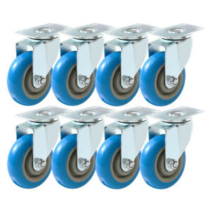 8 Pack 3 Inch Caster Wheels Swivel Plate On Blue Polyurethane Wheels Pu