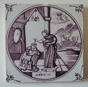 18th Century Delft Tile Biblical Text Act 10 The Baptism Of Cornelius
