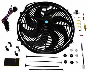 16 Electric Curved 8 Blade Reversible Cooling Fan 3000cfm Thermostat Kit