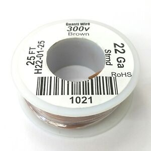 H22 01 25 22awg Brown Pvc Insulated Stranded 300 Volt Hook up Wire 25 Roll