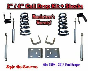 1998 2015 Ford Ranger 4 Cyl Reg Cab 2wd 3 6 Drop Lowering Kit Shocks
