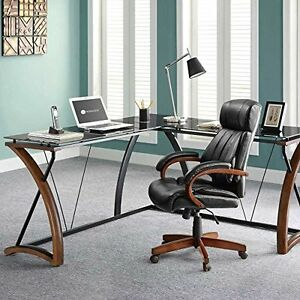 L Shaped Corner Computer Desk Table Wood glass metal Modern Workstation Office