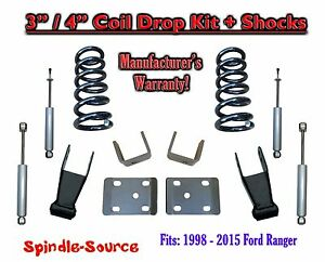1998 2015 Ford Ranger 4 Cyl Ext Cab 2wd 3 4 Drop Lowering Kit Shocks