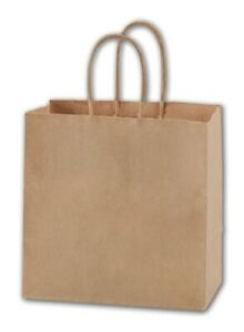 250 Kraft Brown Paper Bags Merchandise Gift Shoppers Ruby 8 X 5 X 8