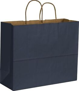 250 Paper Bags Gift Merchandise Dark Blue Color On Kraft Shoppers 16 X 6 X 12 1