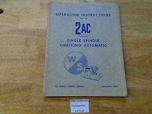B14 Warney Swasey 2 ac Operating Instructions Single Spindle Automatic Manual