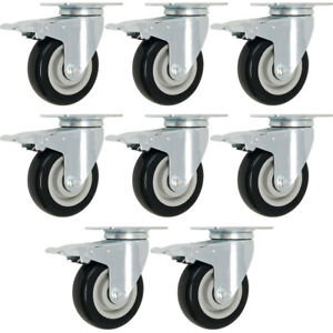 Set 8 3 Caster Wheels Swivel Plate Total Lock Brake Black Polyurethane