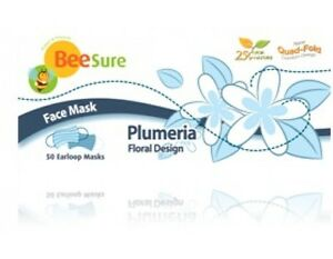 Beesure Plumeria Floral Design Face Mask Case Of 8 Boxes 50 bx