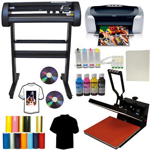 15x15 Heat Press metal Vinyl Plotter Cutter Printer Ciss Tshirt Start up Bundle