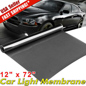 25 Black 12 X 72 Car Smoke Headlight Fog Tail Light Tint Film Vinyl Sheet Us