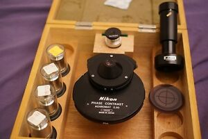 Nikon Phase Contrast Kit very Clean 4 Objectives Condenser And More