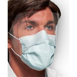 Crosstex Isofluid Fogfree Earloop Mask W Splash Visor Latex Free Blue 25 bx