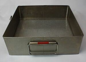 Stainless Steel V Mueller Surgical Sterilization Instrument Tray Basket No Lid