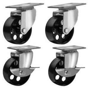 Lot Of 4 All Steel Swivel Plate Casters And 2 With Brake Lock 3 Wheel