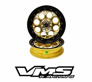 15x3 5 Vms Racing Revolver Skinnes Gold Black Rims Wheels 4x100 4x114 Et10 X2