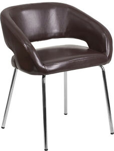 Contemporary Design Brown Leather Side Reception Lounge Chair Waiting Room Chair