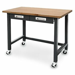 Industrial Strength Steel Workbench Table Solid Wood Top Rolling Drawers Garage