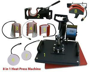 8 In1 Heat Press Machine Digital T shirt Mug Hat Plate Transfer Sublimation Hot