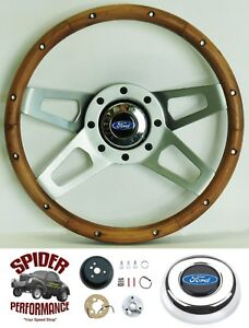 1970 1979 Ranchero Steering Wheel Blue Oval 13 1 2 Walnut 4 Spoke Wheel