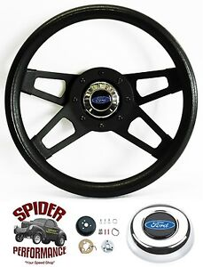 1965 1969 Ranchero Steering Wheel Blue Oval 13 1 2 Black 4 Spoke Steering Wheel