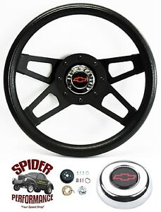 70 73 Blazer Suburb Chevy Pickup Steering Wheel Red Bowtie 13 1 2 Black 4 Spoke