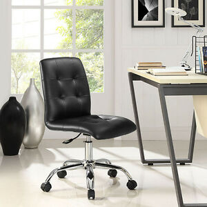Mid back Armless Design Office Task Chair In Black Tufted Faux Leather