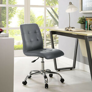 Mid back Armless Design Office Task Chair In Gray Tufted Faux Leather