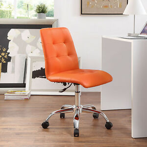 Mid back Armless Design Office Task Chair In Orangetufted Faux Leather