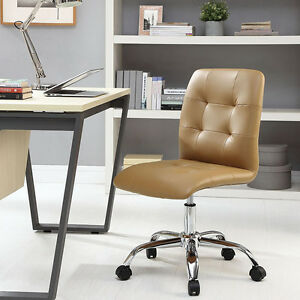 Mid back Armless Design Office Task Chair In Tan Tufted Faux Leather