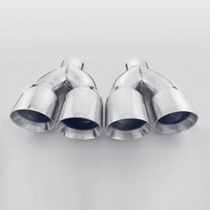 Quad 4 Outlet Dual Wall Exhaust Tips For Chevy Corvette C6 2005 2013