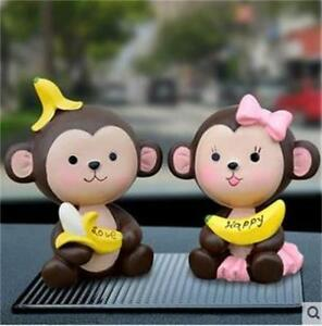 New Fashion 2 Pieces Banana Monkey Car Decoration Cute Doll Interior Accessories