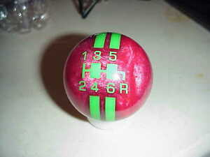 Mustang Cobra Shelby 6 Speed Rally Shift Knob Burgundy Pearl W Green Stripes