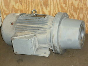 Used Toshiba Electric Motor W hydraulic Pump Adapter Flange 50hp 3 Ph 1770 Rpm