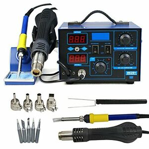 862d 2in1 Smd Soldering Iron Hot Air Rework Station Desoldering Repair 110v Max