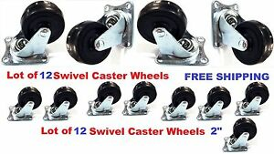 Lot Of 12 Heavy Duty 2 Swivel Caster Wheels Rubber Base With Top Plate Bearing