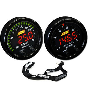 Aem 52mm X series Gauge Kit Wideband Air fuel Uego Boost Pressure 35psi 2 5bar