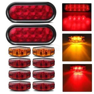 Trailer Boat Led Light Kit Red Stop Turn Tail 6red 2amber Side Marker Lights