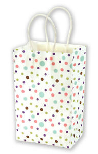 Set Of 100 New Small Dainty Dots Kraft Shopping Bag 5 25 X 3 25 X 8 38