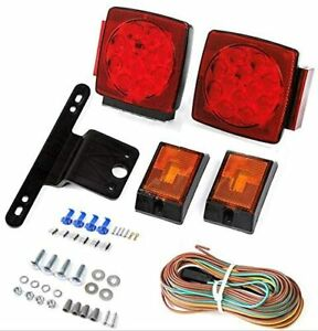 Pair Led Submersible Tail Brake Stop License Lights Kit Trailer Boat Rv Over 80
