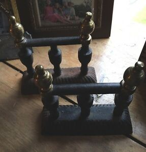 Antique Fire Dogs Cast Iron Brass