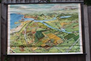 Vintage Pull Roll Down School Wall Chart Poster Of A German Coastal Town Beach