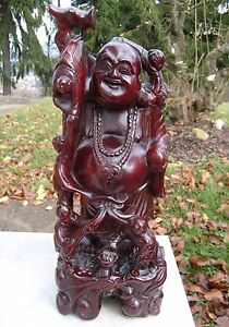 Carved Chinese Happy Traveling Buddha Ebony Rosewood 16 Vintage